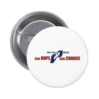 Ron Paul 2012: Esperanza real, cambio real Pins