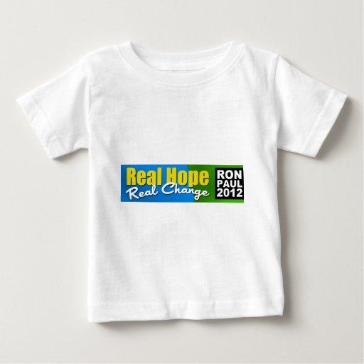 Ron Paul 2012: Esperanza real, cambio real Playera De Bebé