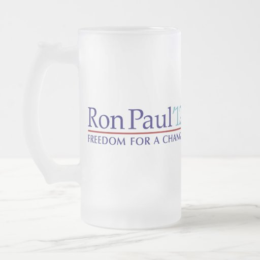 Ron Paul 2012 Frosted Glass Beer Mug