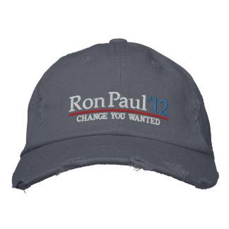 Ron Paul 2012 gorras bordados personalizable Gorras Bordadas