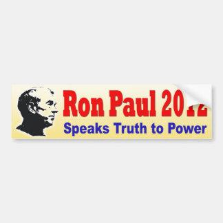 Ron Paul 2012 habla verdad al poder Pegatina Para Auto
