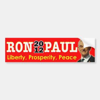 Ron Paul 2012 - Libertad, prosperidad, paz Pegatina Para Auto