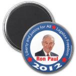 Ron Paul 2012: ¡Libertad y justicia para todos! Imán De Frigorífico