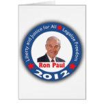 Ron Paul 2012: ¡Libertad y justicia para todos! Tarjeta
