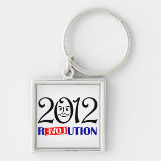 Ron Paul 2012 Llavero Cuadrado Plateado