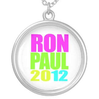 RON PAUL 2012 NEON ROUND PENDANT NECKLACE
