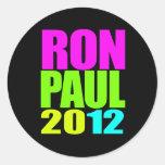 RON PAUL 2012 NEON ROUND STICKER
