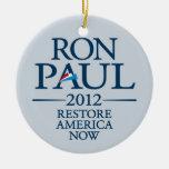 Ron Paul 2012 - Restablecimiento América ahora Adorno Redondo De Cerámica
