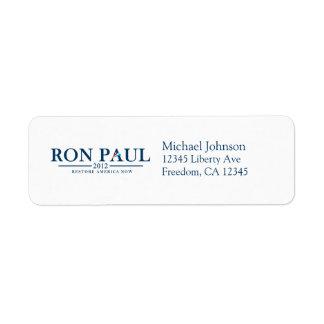 Ron Paul 2012 - Restablecimiento América ahora Etiqueta De Remite