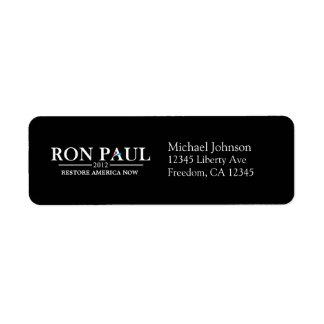 Ron Paul 2012 - Restablecimiento América ahora Etiqueta De Remitente
