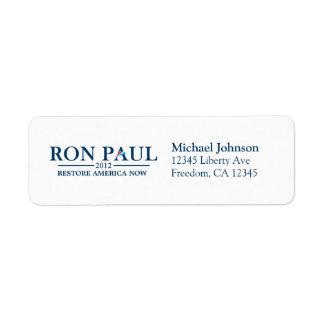 Ron Paul 2012 - Restablecimiento América ahora Etiquetas De Remite