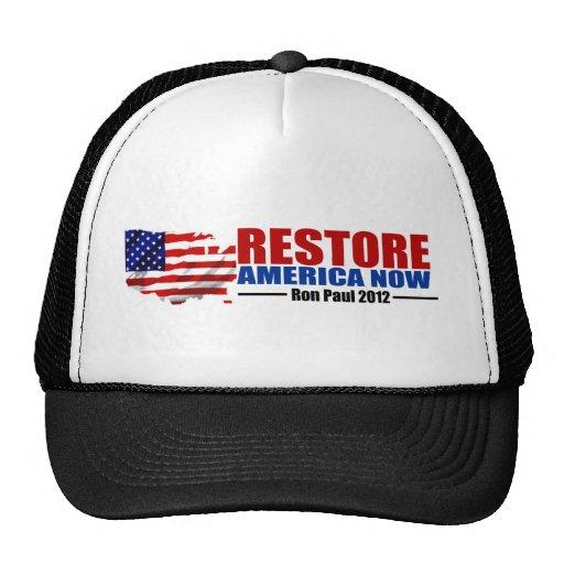 Ron Paul 2012: Restablecimiento América ahora Gorras De Camionero
