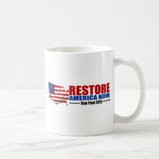 Ron Paul 2012: Restablecimiento América ahora Tazas