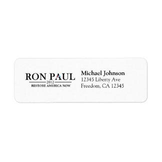 Ron Paul 2012 - Restore America Now Custom Return Address Labels