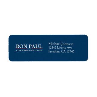 Ron Paul 2012 - Ron Paul para el presidente Etiquetas De Remite