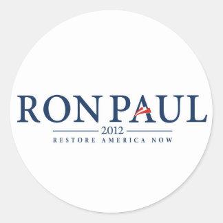 ron paul 2012 usa president election logo politics classic round sticker