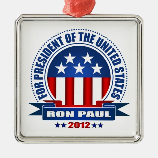 Ron Paul Adorno Cuadrado Plateado