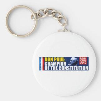 Ron Paul: Campeón de la constitución Llavero Redondo Tipo Pin