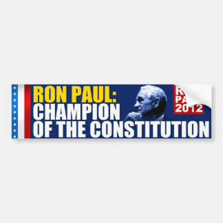 Ron Paul: Campeón de la constitución Pegatina Para Auto