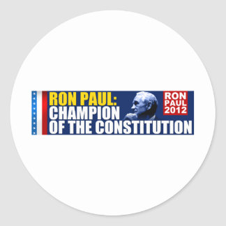 Ron Paul: Champion of the Constitution Classic Round Sticker