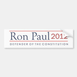 Ron Paul Defender of the Constitution 2012 Car Bumper Sticker