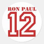 RON PAUL EN '12 PEGATINA REDONDA