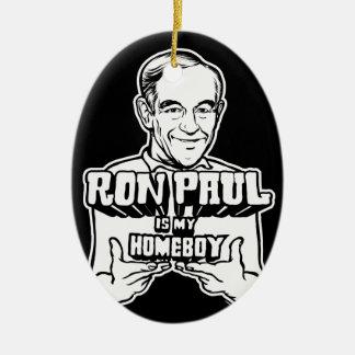 Ron Paul es mi ornamento del Homeboy Adorno Ovalado De Cerámica
