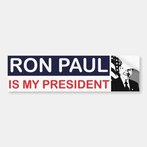Ron Paul es mi presidente pegatina para el paracho Etiqueta De Parachoque