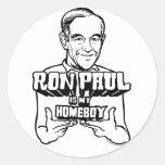 Ron Paul es mis pegatinas del Homeboy Pegatina Redonda
