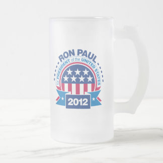 Ron Paul for President 2012 Frosted Glass Beer Mug