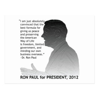 Ron Paul for President of the USA, 2012 Postcard