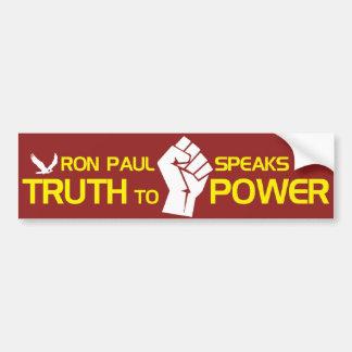 Ron Paul habla verdad al poder Pegatina Para Auto
