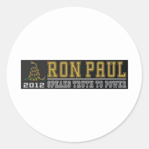 Ron Paul habla verdad al poder Pegatina Redonda