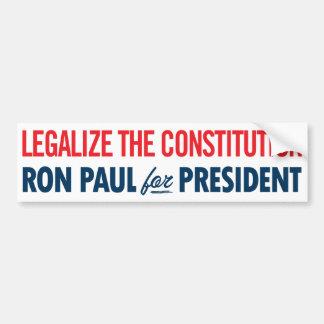 Ron Paul legaliza a la pegatina para el parachoque Etiqueta De Parachoque