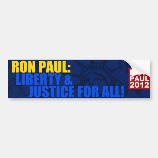 Ron Paul: Libertad y justicia para todos Pegatina De Parachoque