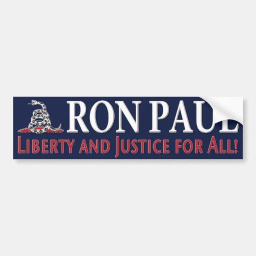 Ron Paul: ¡Libertad y justicia para todos! Etiqueta De Parachoque
