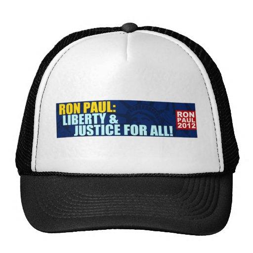 Ron Paul: Libertad y justicia para todos Gorro