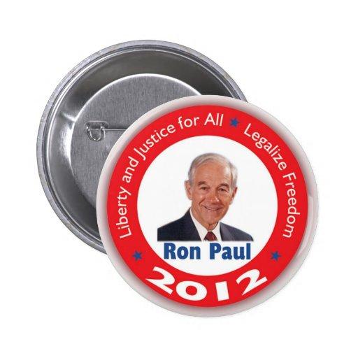 Ron Paul: Libertad y justicia para TODOS Pin Redondo 5 Cm