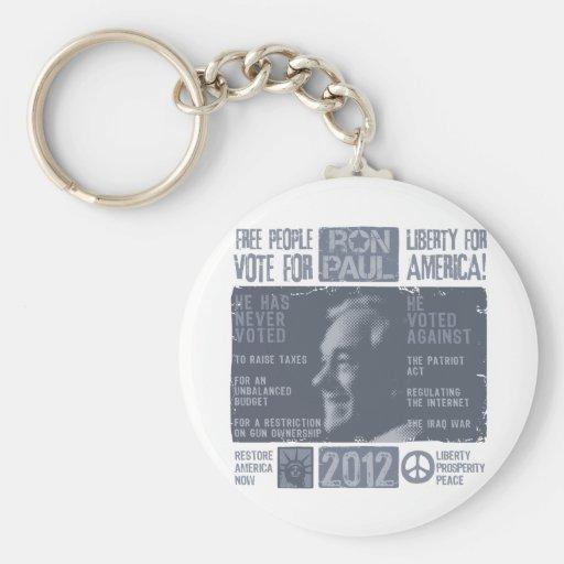 Ron Paul para el presidente 2012 Llaveros Personalizados