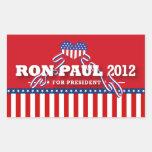 Ron Paul para el presidente 2012 Rectangular Pegatinas