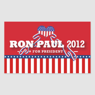 Ron Paul para el presidente 2012 Pegatina Rectangular
