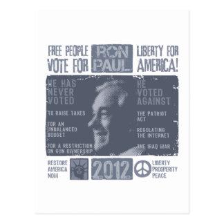 Ron Paul para el presidente 2012 Tarjetas Postales
