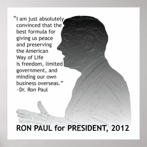 Ron Paul para el presidente de los E.E.U.U. Póster
