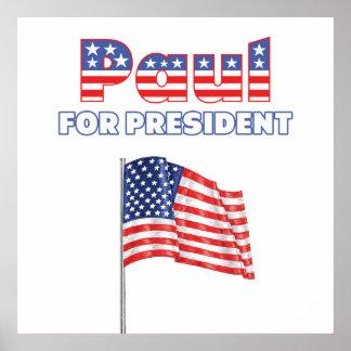 Ron Paul para la bandera americana de presidente P Impresiones