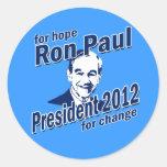 Ron Paul para la esperanza y el cambio Etiquetas Redondas