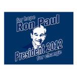 Ron Paul para la esperanza y el cambio Postal