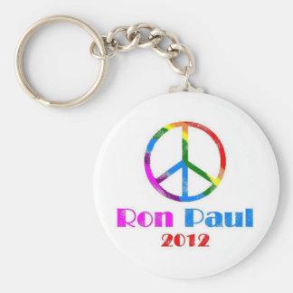 Ron Paul Peace Sign Rainbow Basic Round Button Keychain