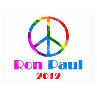 Ron Paul Peace Sign Rainbow Postcard