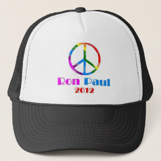 Ron Paul Peace Sign Rainbow Trucker Hat