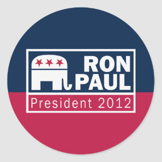 Ron Paul President 2012 Republican Elephant Classic Round Sticker